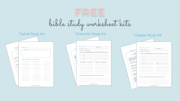 Bible Study Worksheet Kits