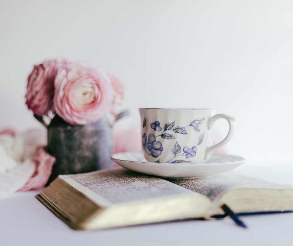 Devotional with flowers and teacup